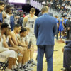 Coach Ewing talking to team during timeout vs Central Connecticut